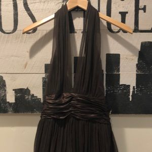 Maggy London Dresses - Maggy London Brown Halter Silk Evening Gown